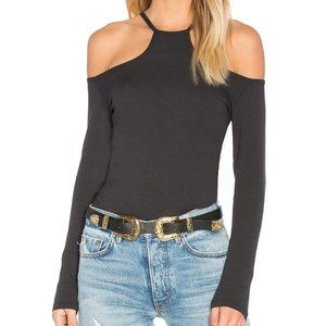 LNA Cut Out Rib Long Sleeve Top Onyx Black